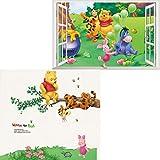 Kibi 2PCS Winnie The Pooh Friends Pegatinas Winnie the Pooh Pegatinas de Pared de Winnie the Pooh Para Niños Stickers Winnie the Pooh Dormitorio Pegatinas Decorativas Pared Niña/Niño