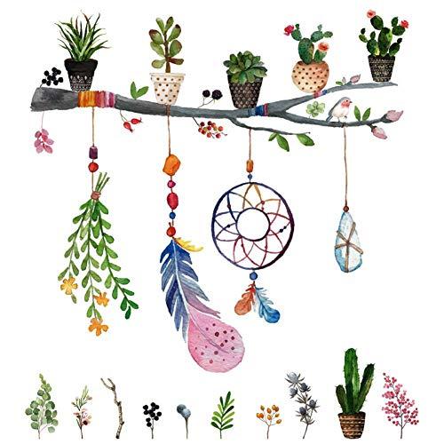 GUDOJK muursticker, veer, bloempot, muurstickers voor kinderkamer, slaapkamer, kinderkamer, wandtattoos, vinyl verwijderbare Murals