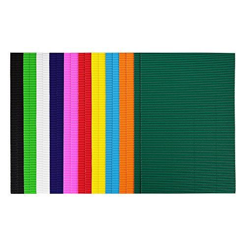 ewtshop 20 Blatt Bastel-Wellpappe, 10 Verschiedene tolle Farben, doppelseitig gefärbt, DIN A4
