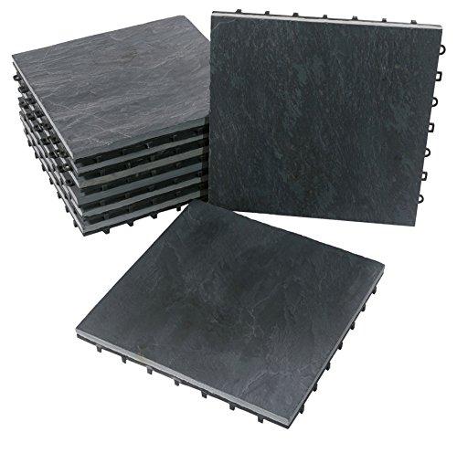 BodenMax Pack de 8 Dalles Clipsables en Ardoise 30x30x2,5cm – Dalles Emboîtables pour Terrasse, Jardin, Balcon, Piscine, Sauna, Intérieur et Extérieur
