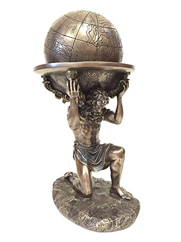 wu Bronze Greek Titan Atlas Carrying The World Statue