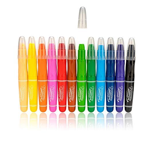 Keyroad 12 Jumbo Wachsmalstifte, wasservermalbar | Stifte für Kinder | Supersoft | für Nass- und Trockentechnik | perfekt für Kinder, Kindergarten und Schule
