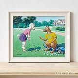 KWzEQ Personalidad Perro Ocio Actividades Impresión en Lienzo Pintura al óleo Lienzo Muebles para el hogar Arte de la Pared Decoración Pintura80X105cmPintura sin Marco