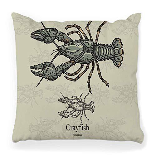 Funda de Cojine Funda decorativa para cojín, gráficos de cangrejos, cangrejos, vida animal, acuicultura, astacus, astacus, dedos anchos, dibujados, grabados Throw Cojín 45X45CM