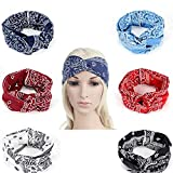 Headbands 6 Pcs Super Elastic Head Wraps Bows Bandanas with Big Hair Band Stretch and Bow Holder Organizer of Vintage Floral Printed Hair Accessories for Girls Women