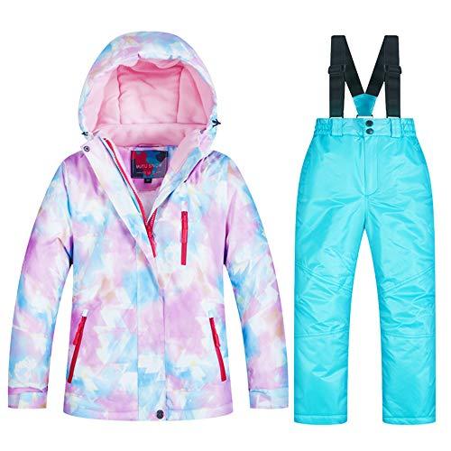 LPATTERN Kinder Jungen/Mädchen Snowboard & Skifahren Bekleidung Zweiteilig Skianzug Schneeanzug Outfit-Set Winddicht Wasserdicht (Skijacke+ Skihose mit Trägern), Mädchen 1+Hellblau, 110-116(Label:08)