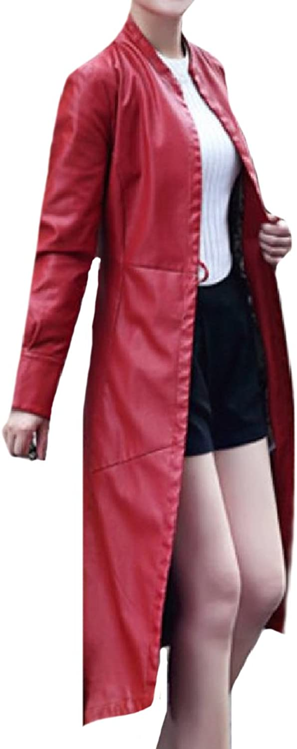 CoolredWomen Plus Size Tailcoat Knee Length Belted PU Leather Jacket