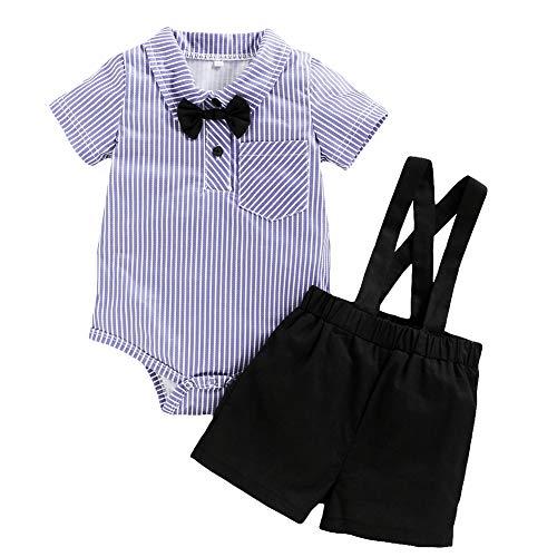 Ropa de bebé recién Nacido Trajes de Caballero para bebés, Trajes, Camisa de Rayas de Manga Corta, Babero, Pajarita, Mono, Conjunto de Ropa de Verano para niños pequeños