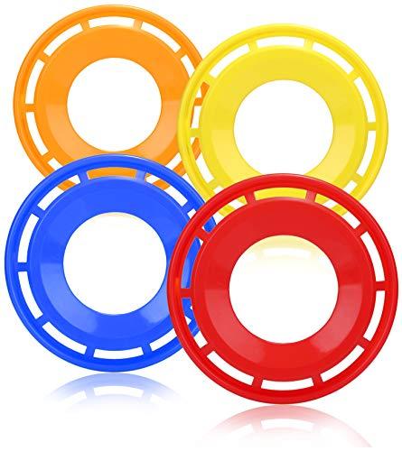 COM-FOUR® 4x frisbee voor kinderen en volwassenen - werpschijf in de vorm van een ring - frisbee-schijf om mee te spelen - vliegende schijf in felle kleuren [selectie varieert]
