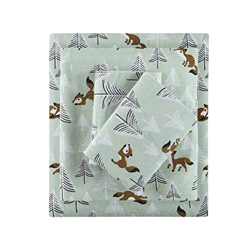 Intelligent Design Cozy Flannel 100% Cotton Ultra Soft Cold Weather Sheet Set Bedding Queen Seafoam Foxes