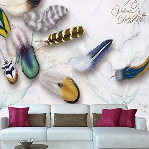 3D Papel Pintado Pared 200x150cm Plumas de colores No Tejido Foto murales Decorativos Pared Moderna Póster Fotográfico Salón Infantil Dormitorio Decoración