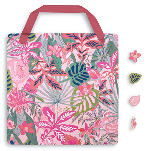 Vera Bradley Hanging Magnetic Memo Board with 4 Shaped Magnets for Home/Office/Dorm/Kitchen, Rain Forest Canopy Pink