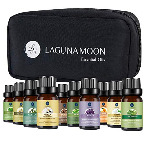 Lagunamoon Essential Oils with Travel Bag, Set of 10 Pure Aromatherapy Oils Tea Tree Lavender Peppermint Eucalyptus Sandalwood Lemongrass Orange Chamomile Jasmine Vetiver