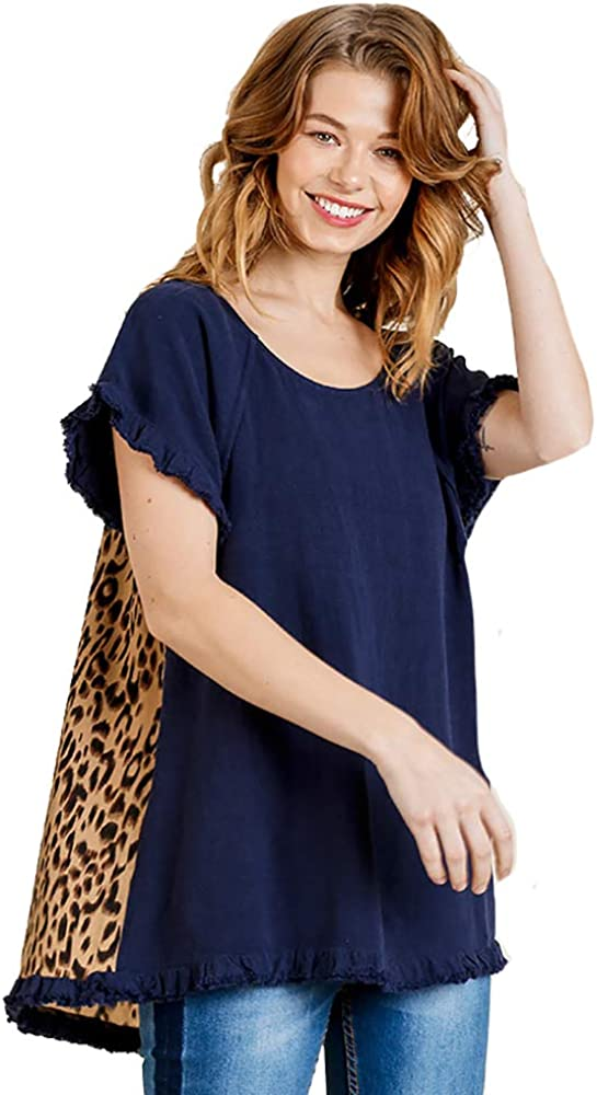 Umgee Total Package Tunic! Short Sleeve Print and Linen Blend Top