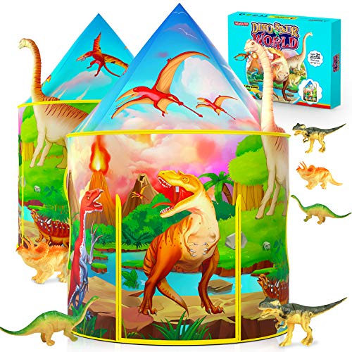 Dinosaur Kids Play Tent with Dinosaur Toys for Boys & Girls, Kids Tent for Boys, Pop Up Playhouse for Children with Miniature Dinosaur Gifts, Outdoor Indoor Tents for Kids Play Games