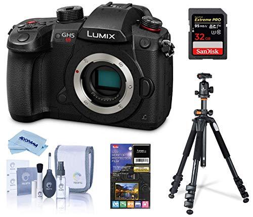 Panasonic LUMIX GH5S 4K Mirrorless Digital Camera, 10.2MP high-sensitivity MOS sensor, Bundle with Vanguard Alta Pro 264AB 100 Aluminum Tripod with Ball Head, 32GB SD Card, LCD Protector, Cleaning Kit