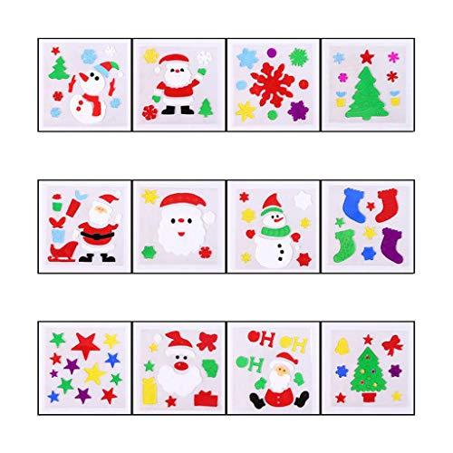 TwoCC 12 Piezas Pegatinas de Ventana Navideñas de Gran Color Pegatinas Suaves Decoración del Día de Navidad...