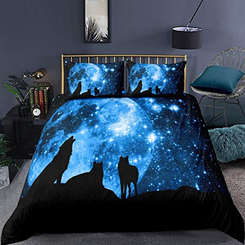 Loussiesd Wolf Duvet Cover Set for Kids Boys 3D Print Galaxy Bedding Set Single Size Decorative Blue Moonlight Stars Microfiber Polyester Comforter Cover with 1 Pillow Shams, Zipper, 2 Pieces