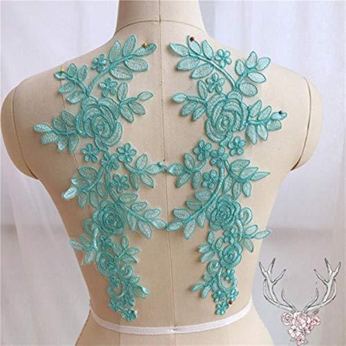 Qingsb naaien kant stoffen 2 paar 14 * 35cm kleuren ganza borduurwerk bloem grote kant applique voor trouwjurk bruidsjurk, meer blauw