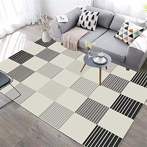 Kids Rugs For Bedrooms Girls Square pattern, machine washable, home and commercial carpet Garden Rugs Rugs Small grey 160 * 200cm