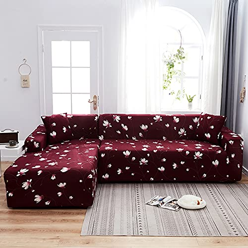 Funda elástica para sofá con Estampado Floral y Cuadros Escoceses Pide 2 Piezas Fundas para sofá esquinero seccional en Forma de L Sillón Protectot A10 2 plazas