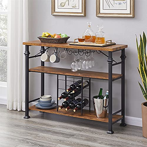 Hombazaar Industrial Wine Rack Table with Glass Holder, 3-Tier Freestanding Mini Bar, Vintage Wine Cabinet with Storage Shelves for Living Room Kitchen,Hold 9 Bottles,36 Inches,Brown
