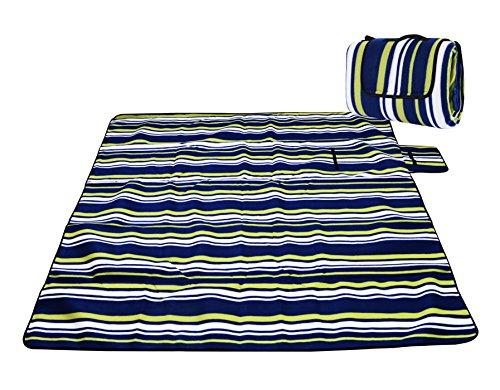Honeystore Flanell Wasserdichte Yoga Matte Strand Ausflug Picknickdecke mit Tragegriff 200 * 200 cm Blau Grün Streifen