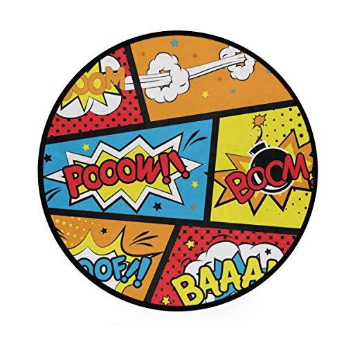 MALPLENA Boom Comic Words - Alfombra Redonda Antideslizante para Sala de Estar o Dormitorio