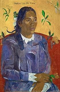 Gauguin (Vahine no te tiare (Tahitan Woman with Flower), 1891) Canvas Art Print Reproduction (21.7x14.2 in) (55x36 cm)