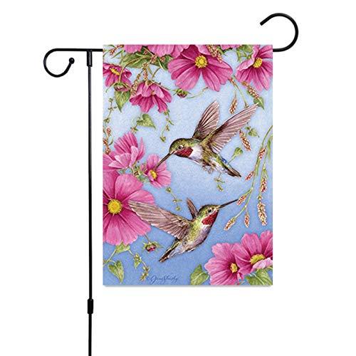 DWWW strikte Nieuwe Decoratieve Welkom Bloem Lente Zomer Tuin Vlag Papavers & Vogelhuisjes Dieren Tuin Banner (Geen Paal) vijand thuis