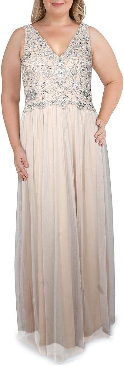 Adrianna Papell Women's Beaded Sleeveless V Neck Bodice with Soft Tulle Skirt