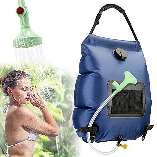Solardusche Outdoor,KIPIDA 20L Campingdusche Solar Wassersack Heizung Camping Dusche Tasche mit Duschkopf Gartendusche Pooldusche Warmwasser Shower,Outdoor Camping Wandern Wassersack zum Faltbar Blau