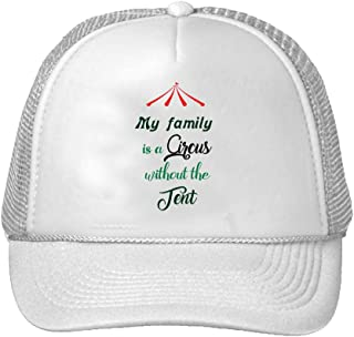 Trucker Hat My Family is a Circus Without The Tent Polyester Baseball Mesh Cap Snaps White One Size