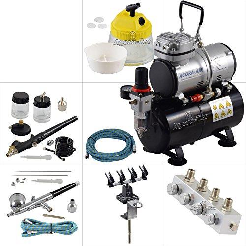 Agora-Tec® Airbrush Komplett-Set PROFI XVII.1, inkl. Kompressor mit 4 bar, 20l/min und 3 Liter Tank + 2 Airbrushpistolen mit 0,2 & 0,3 & 0,5 & 0,8mm Nadeln/Düsen + regelbaren 4-fach Luftdruckverteiler + 4-fach Halter + Clean-Pot + 2 Schläuche + Adapter