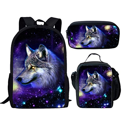 Nopersonality Galaxy Star Backpack Rucksack, Cool Animal Wolf Lunch Box Bag, Small Pencil Case for Girls Boys School Set