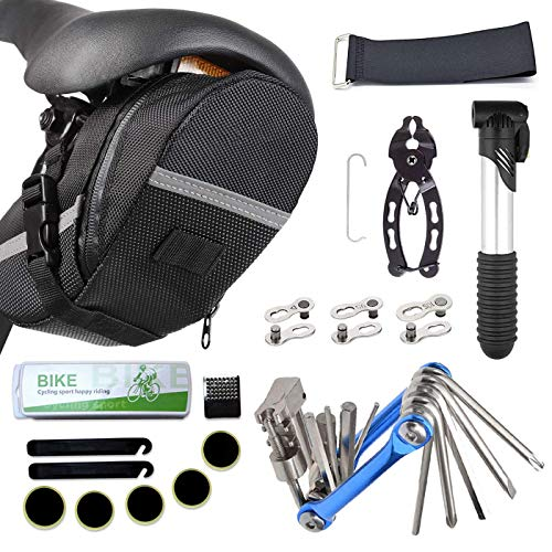 Bike Repair Tool Kits Saddle Bag, Bicycle Tire Pump, 11 in 1 Multi Function Tool, Tire Patches, Bicycle Tire Lever, Bike Link Plier, Chain Breaker Splitter, Bicycle Missing Link for Road Mountain BMX