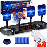 CPSYUB Electronic Shooting Target with Foam Dart and Toy Gun,Auto Reset Digital Targets for Nerf Guns Toys Gifts for 4,5,6,7,8,9,10 Year Old Kids-Boys&Girls,Compatible with Nerf Toys (Black)