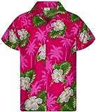 King Kameha - Camisa hawaiana para hombre, manga corta, bolsillo frontal, diseño de flores Pequeña flor rosa. XXL