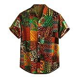 haoricu Men's Summer V Neck Shirts Casual Short/Long Sleeves Color Block Stripes Print Button Up Loose Shirts Blouse …