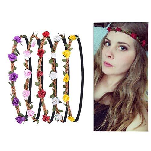 5 diademas de flores de rosas con cinta elástica para mujeres, niñas,...