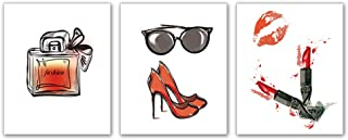 Kairne Fashion Art Print ,High Heels Lipstick Handbag Glasses Perfume Woman Wall Art, Set of 3 8x10 inch no Frame,Vintage Watercolor red Lips Wall Art Picture,for Girls Room Living Room Home Decor