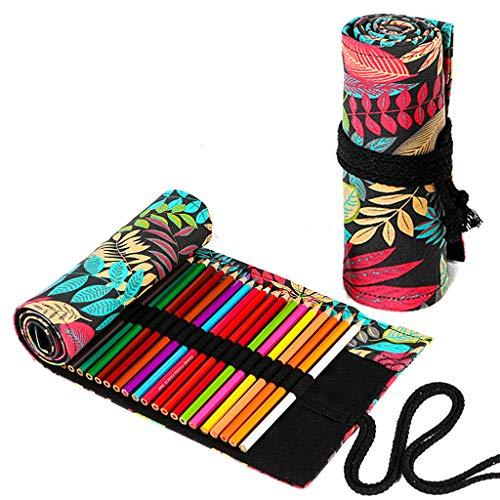 72 Trous Étui à Crayons en Toile pour Garçons et Filles, TOYESS Trousses Scolaire en Toile à Enrouler de Crayon de Couleur pour Le Stockage, Écriture, Forêt tropicale