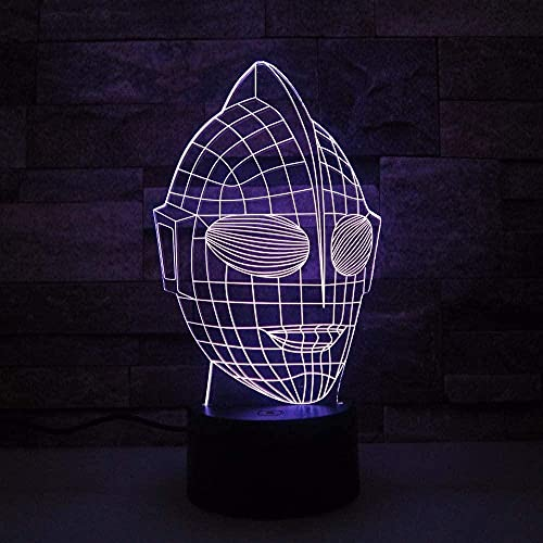 Máscara de dibujos animados de Superman Modelo 3D Luz de noche para niños Lámpara sinfónica LED Lámpara de mesa Dormitorio Ambiente Decoración Luz Navidad Regalo de cumpleaños Juguete