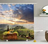 N/ Bodega Colección Viñedo en Chianti Toscana Italia Otoño Amanecer con Lucesde Sol Estallando a travésde Las Nubes Imagen de Verde 183 * 183CM