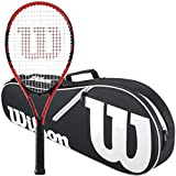 Wilson Federer Black/Red 2018 Strung Tennis Racquet Bundled with a Black/White...