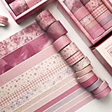 12 Rolls Washi Tape Set -Rose Pink Art Craft Tape with 4 Sizes Wide and Skinny, Masking Adhesive Tape...