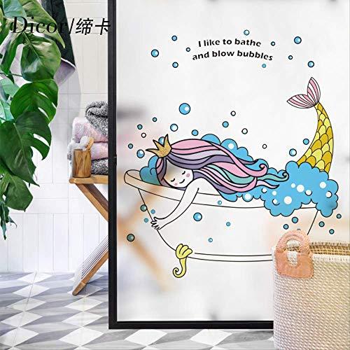 UJH Die Kleine Meerjungfrau Badezimmer Fenster Glas Aufkleber Fenster Milch Milchglas Film Schattierung Zellophan Lichtdurchlässigkeit Undurchsichtig 90 * 120 cm