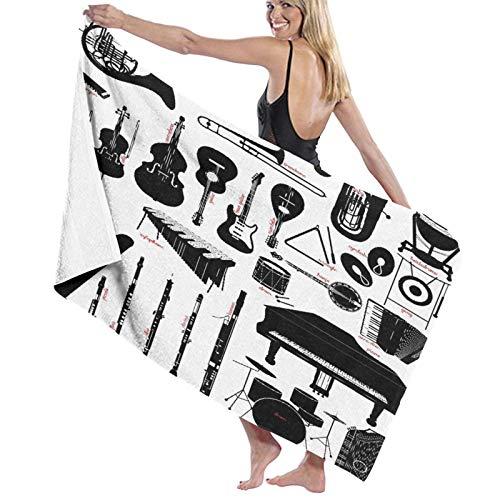 """Grande Suave Ligero Toalla de Baño Manta,Clarinete Instrumentos Musicales Flauta Banjo Tambor Fagot Piano Piccolo Trombón,Hoja de Baño Toalla de Playa por la Familia Viaje Nadando Deportes,52"""" x 32"""""""