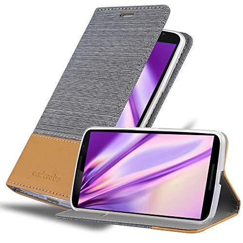 Preisvergleich Produktbild Cadorabo Hülle für Lenovo Google Nexus 6 / 6X in HELL GRAU BRAUN - Handyhülle mit Magnetverschluss,  Standfunktion und Kartenfach - Case Cover Schutzhülle Etui Tasche Book Klapp Style