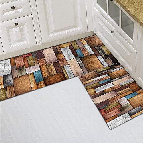 Alfombra De Cocina Lavable Antideslizante para Cocina De 2 Piezas Patrón De Azulejos De Pared Vintage, Manta Larga para La Cabecera del Dormitorio Entrada Alfombrilla De Entrada